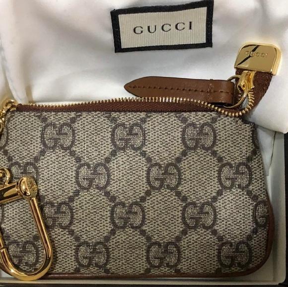 7586321ada1 Gucci Key Case Zip Pouch Mini Wallet Change Ring